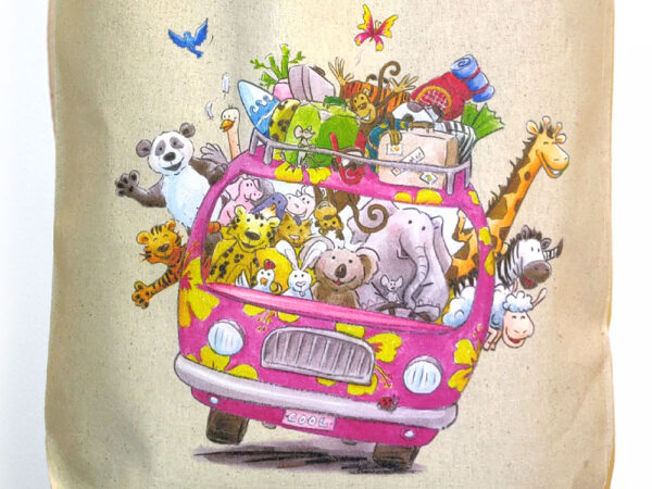 Tote bag 100% coton Le minibus des animaux par Sophie turrel