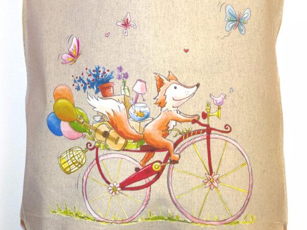Tote bag 100% coton Le renard à vélo par Sophie turrel