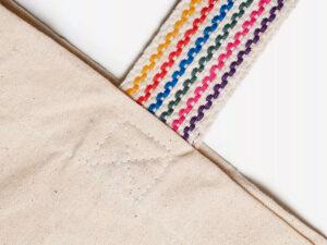 Tote bag 100% coton décor coucn et fleurs tropicales par Sophie turrel