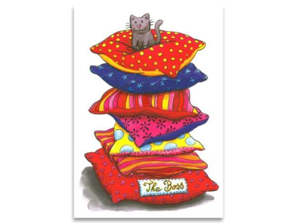 Carte postale simple Le chat c'est le boss