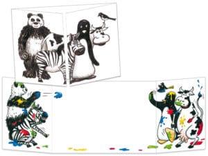Carte postale cache-cache ct002 Les animaux en noir et blanc