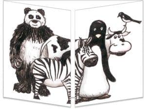 carte cache-cache ct002 Les animaux en noir et blanc