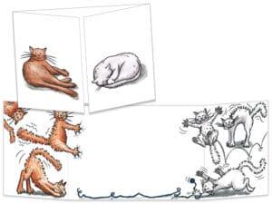 Carte postale ct012 les 2 faces des chats