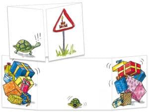 Carte postale de la collection cache-cache La tortue fête son anniversaire