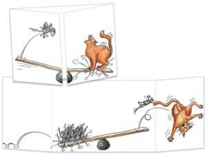 Carte postale de la collection cache-cache le chat et les souris sur la balançoire