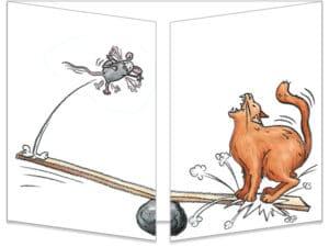 Carte ct018 le chat et les souris sur la balançoire