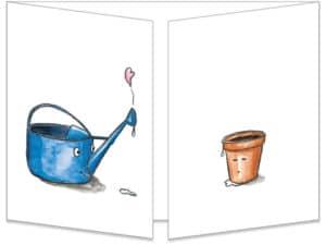 Carte postale L'arrosoir et le pot de fleur