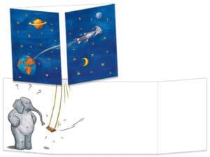 Carte postale cache-cache ct067 la souris dans l'espace