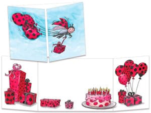 Carte postale anniversaire coccinelles