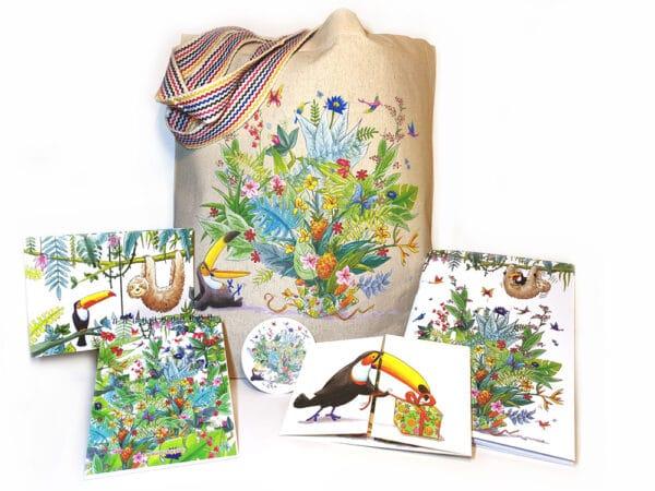 Pack offre cadeau ensemble d'bjets illustration Jungle
