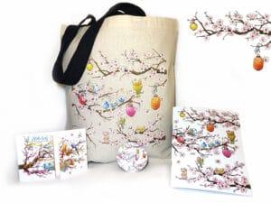 Pack d'objets illustrés du motif le cerisier en fleurs et les oiseaux