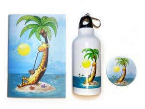 Pack cadeau d'objets avec le visuel la girafe en vacances
