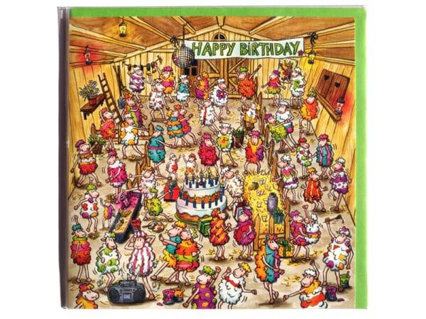 Carte postale d'anniversaire carré Les moutons en fête