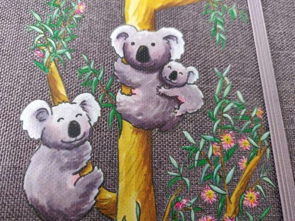 Carnet tissu Les Koalas détail impression