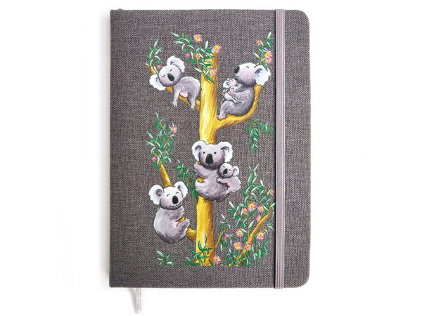 Carnet rigide B6 couverture tissu, décor koalas