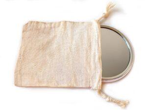 Miroir de sac et sa pochette coton