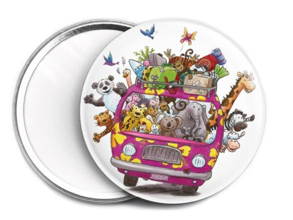Miroir de sac Le minibus des animaux