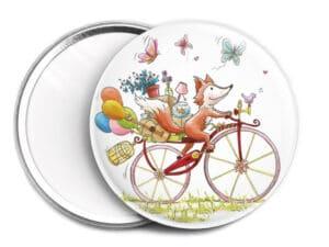 Miroir de sac Le renard à vélo