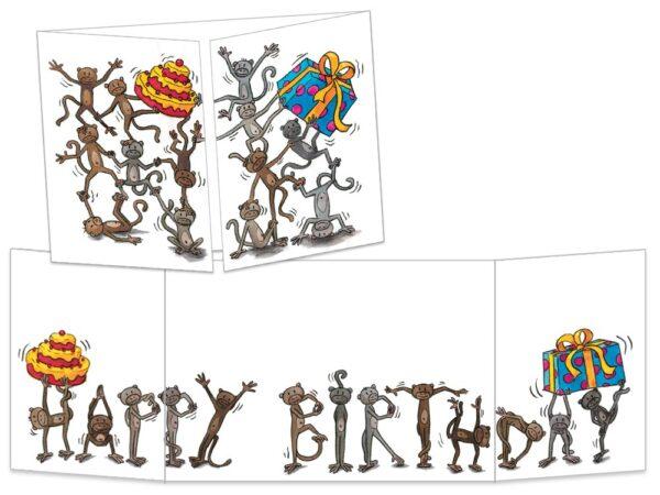 Carte postale Les singes happy birthday