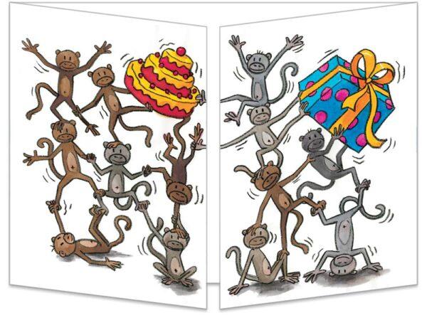 Carte Les singes happy birthday