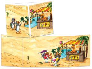 Carte postale Les pingouins dans le désert
