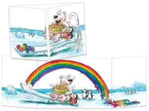 Carte postale cache-cache L'ours blanc et le pingouin créent un arc-en-ciel