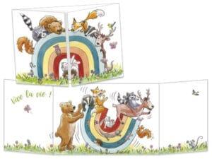 Les animaux de la forêt et l'arc-en-ciel